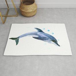Happy Dolphin children artwork illustration decor dolphin Rug