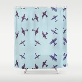 Toys#plane#1942#blue Shower Curtain