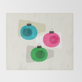 Retro Holiday Baubles Throw Blanket