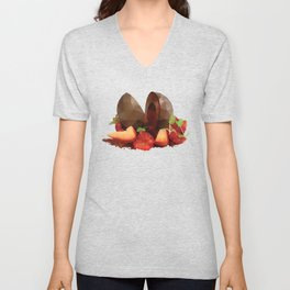 Chocolate Mousse Dessert with Raspberry Centre polygon art Unisex V-Neck