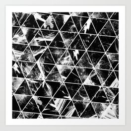 Geometric Whispers - Abstract, black and white triangular, geometric pattern Art Print