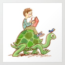 The Tortoise-Riding Reader Art Print