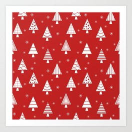 Holiday Christmas Tree Pattern (cranberry) Art Print