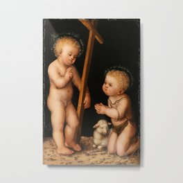 Lucas Cranach the Elder- Infant Jesus and John the Baptist as child Metal Print