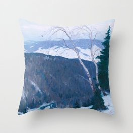 Clarence Gagnon - Winter Solitude - Canada, Canadian Oil Painting - Group of Seven Throw Pillow