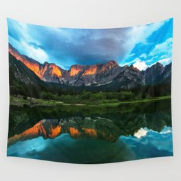 Burning sunset over the mountains at lake Fusine, Italy Wall Tapestry
