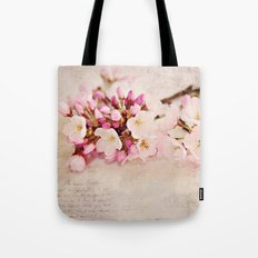 cherry blossoms with typography Tote Bag