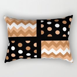 Black/Two-Tone Burnt Orange/White Chevron/Polkadot Rectangular Pillow
