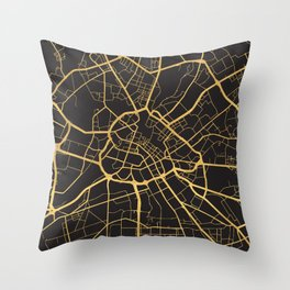 MANCHESTER ENGLAND GOLD ON BLACK CITY MAP Throw Pillow
