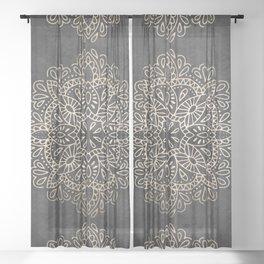 Mandala White Gold on Dark Gray Sheer Curtain
