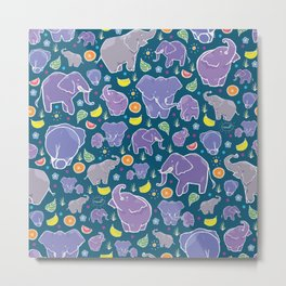 Elephants and Fruit Metal Print