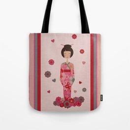 Kokeshi Geisha Japan Tote Bag
