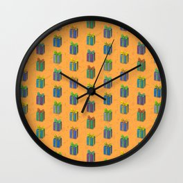 Presents pattern orange Wall Clock