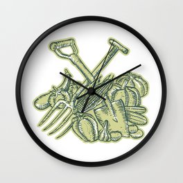 Spade Pitchfork Crop Harvest Etching Wall Clock