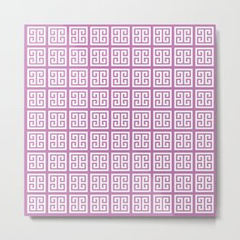 Orchid Purple Greek Key Pattern Metal Print