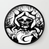 grim fandango Wall Clocks featuring Grim by Emalee Røse
