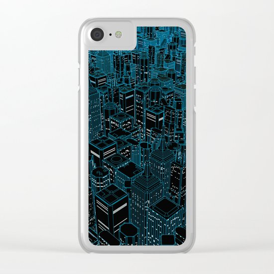 Night light city / Lineart city in blue Clear iPhone Case