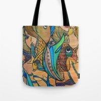 mermaids Tote Bags featuring Mermaids by Valerie Parisius