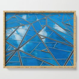 Blue sky reflections Serving Tray
