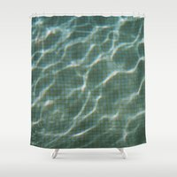 pool Shower Curtains featuring Pool by Marta Bocos