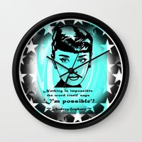 audrey Wall Clocks featuring Audrey by SwanniePhotoArt