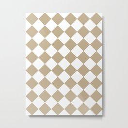 Large Diamonds - White and Khaki Brown Metal Print