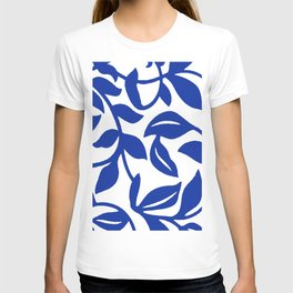 PALM LEAF VINE SWIRL BLUE AND WHITE PATTERN T-shirt