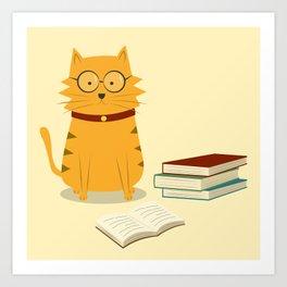 Nerdy Cat Art Print