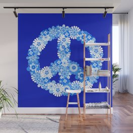 Peace Sign Floral Blue Wall Mural