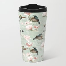 Vintage Watercolor hummingbird and Magnolia Flowers on mint Background Metal Travel Mug