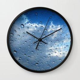 Raindrops in Blue Wall Clock
