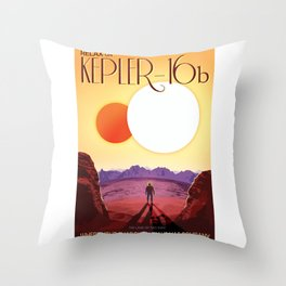 Relax on Kepler 16b vacation advert Throw Pillow