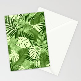 Green Tropical Leaves Pattern Stationery Cards