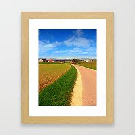 A road, a village and summer season | landscape photography Framed Art Print