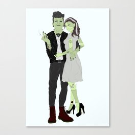 Monsters of our Time - Frankenstein and his Bride Canvas Print