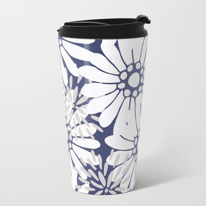Summer Flowers Dark Blue Metal Travel Mug