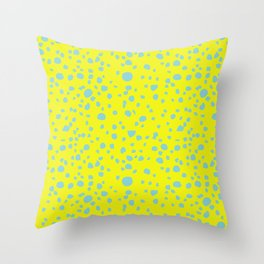 Postmodern Granite Terrazzo Large Scale in Canary Yellow + Mint Throw Pillow
