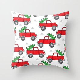 red trucks and christmas trees Throw Pillow