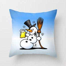 Snowman drinking a beer Throw Pillow