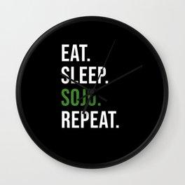 Eat Sleep Soju Repeat Korean Drink Wall Clock