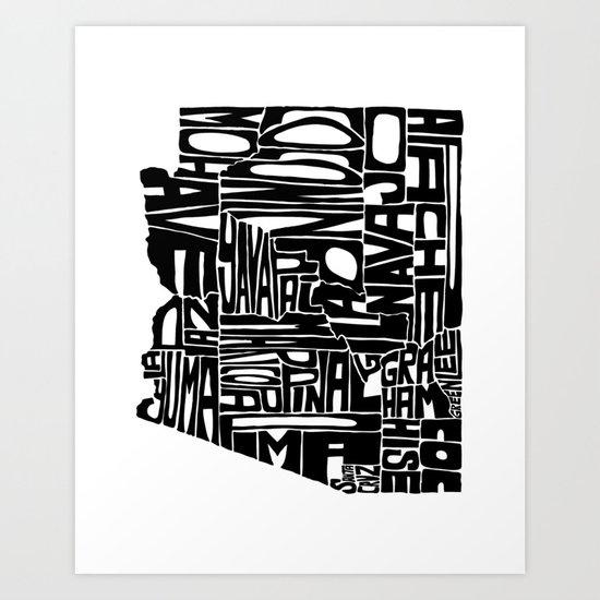 Typographic Arizona Art Print