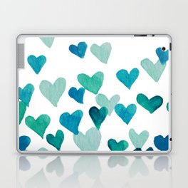 Valentine's Day Watercolor Hearts - turquoise Laptop & iPad Skin