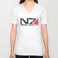 n7 V-neck T-shirts featuring Alt Soldier by Draygin82