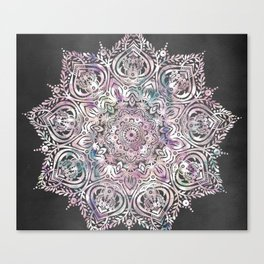 Dreams Mandala - Magical Purple on Gray Canvas Print