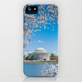 Jefferson Memorial under Cherry Blossoms iPhone Case