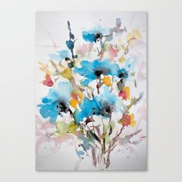 Abstract flowers in blue Canvas Print