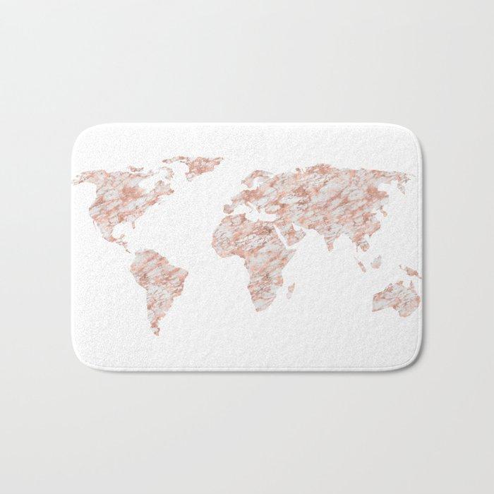 World Map Rose Gold Marble Bath Mat