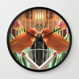 Orange bird reflexion Wall Clock