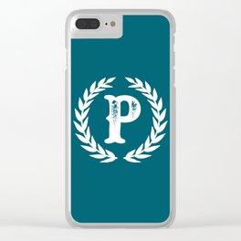 Dark Teal Monogram: Letter P Clear iPhone Case