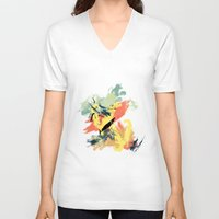 mid century V-neck T-shirts featuring Intuitive Conversations, Abstract Art, Brush Strokes, Mid Century Modern Colors, Orange, Gold, Teal by Itaya Art